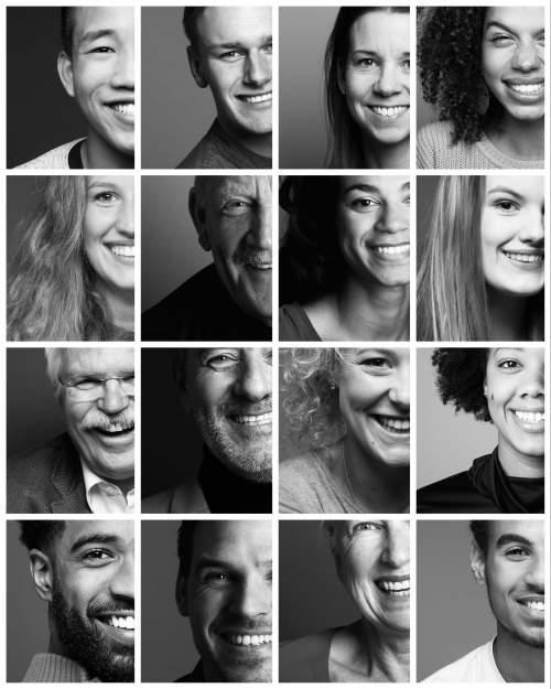 Mehrere Personen mit hoher Diversität in jeweils eigenen Bildrahmen, als ob si sich rausbewegen würden, alle lächeln